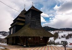 Church of the Archangel Michael, Uzhok, Ukraine. Uzhok, Ukraine - February, 25: Church of the Archangel Michael - UNESCO World Heritage. old wooden building in Royalty Free Stock Photography
