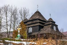 Church of the Archangel Michael, Uzhok, Ukraine. Uzhok, Ukraine - February 25, 2017: Church of the Archangel Michael - UNESCO World Heritage. old wooden building Royalty Free Stock Images