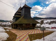 Church of the Archangel Michael, Uzhok, Ukraine. Uzhok, Ukraine - February 25, 2017: Church of the Archangel Michael - UNESCO World Heritage. old wooden building Royalty Free Stock Photography