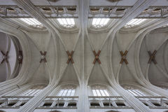 Church architecture. Church ceiling architecture, typical interior for gothic style. Europe, France Royalty Free Stock Images
