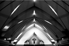 Church Architecture. Interior church architecture in Black and White Stock Image