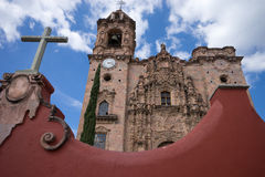 Church architecture in guanajuato mexico. Chritian church architecture in guanajuato mexico stock image