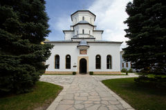 Church architecture in Tismana. Village in Romania Stock Images