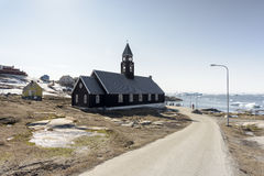 Church and arctic life with icebergs in Greenland. 15.May.2016. Royalty Free Stock Photos