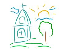 Church artistic drawing Stock Image