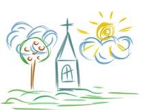 Church artistic drawing Stock Photo