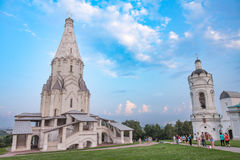 Church of the ascension and the bell tower in Kolomenskoye on the background of the fantastic sky Stock Images