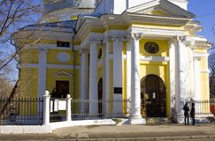 Church of the ascension on Gorokhovoe field Moscow Stock Images