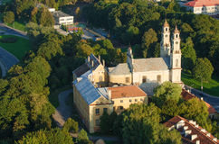 Church of the Ascension (Misionierių bažnyčia) in Vilnius, Lithuania. Old Town of Vilnius, Lithuania. Aerial view from piloted flying object. Church of the Royalty Free Stock Image
