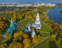 Church of Ascension in Kolomenskoe - Moscow Russia - aerial view. Church of Ascension in park Kolomenskoe - Moscow Russia - aerial view Royalty Free Stock Photography
