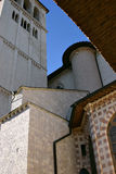 Church in assisi. Church of San Francesco in Assisi a beautiful town in italy Royalty Free Stock Images
