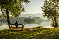 Church of the Assumption on Bled Lake royalty free stock images
