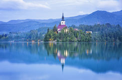 Church of the Assumption on Bled lake, Slovenia Stock Photos
