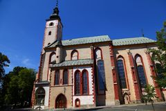 Ancient church in old town. City Banska Bystrica. SLovakia stock images