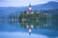 Church of the Assumption on the island of Bled lake, Slovenia Stock Photo