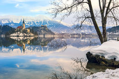 Church of the Assumption on the island in lake Bled. Slovenia Royalty Free Stock Images