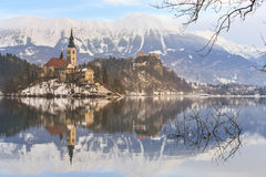 Church of the Assumption on the island in lake Bled. Slovenia Stock Photography