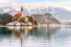 Church of the Assumption on the island in lake Bled. Slovenia Stock Photo