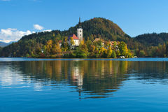 Church of the Assumption in the island of the Lake of Bled Royalty Free Stock Photography
