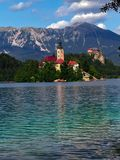 Church of the Assumption, Lake Bled, Solvenia stock photo