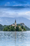 Church of the Assumption in Lake Bled Stock Photo