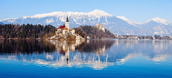 Church of the Assumption on Lake Bled. Bled, Slovenia Royalty Free Stock Images