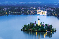 The church of Assumption in Lake Bled, Slovenia Royalty Free Stock Photography