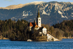 Church of the Assumption Lake Bled Slovenia. St. Martin Church on Island in Lake Bled with Beautiful Mountain Landscape Royalty Free Stock Images
