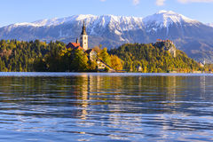 Church of the Assumption of Maria in Lake Bled, Slovenia Stock Images