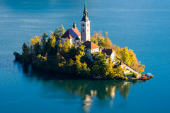 Church of the Assumption of Maria in Lake Bled, Slovenia Stock Photos