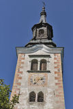 Church Assumption of Mary bell tower on lake Bled island Stock Images