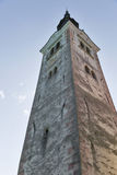 Church Assumption of Mary bell tower on lake Bled island Stock Image