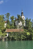 Church Assumption of Mary on lake Bled island Royalty Free Stock Image