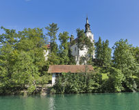Church Assumption of Mary on lake Bled island Stock Photography