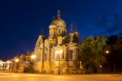 Church of the assumption metochion of the Kiev-Pechersk Lavra at night Royalty Free Stock Image