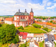 Church of The Assumption. Church of The Assumption 1775 in small town Prestice. Architecture from above. Rare baroque monument in Czech Republic, Central Europe Royalty Free Stock Photography