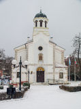 Church of the Assumption in snowy Pomorie, Bulgaria Royalty Free Stock Images