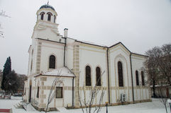 Church of the Assumption in snowy Pomorie in Bulgaria royalty free stock photos