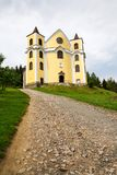 Church of Assumption in sunny mountains, Neratov, Czech republic. Church of Assumption in sunny mountains country, Neratov, Orlicke hory Royalty Free Stock Images