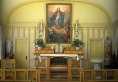 Church of the Assumption, Tomales, CA. View of the altar (apse) of the Church of the Assumption located in Tomales, California.  This church was built in 1860 Royalty Free Stock Photography