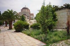 Orthodox Church of the Assumption of the Virgin Mary - landmark in port city Kavala, Greece stock image