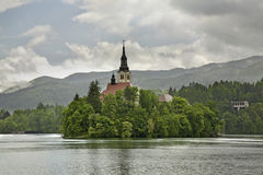 Church of the Assumption of the Virgin Mary on the Lake Bled. Slovenia Royalty Free Stock Photos