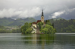 Church of the Assumption of the Virgin Mary on the Lake Bled. Slovenia Stock Photography