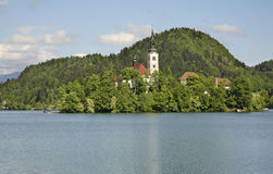 Church of the Assumption of the Virgin Mary on the Lake Bled. Slovenia Stock Images