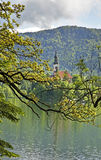 Church of the Assumption of the Virgin Mary on the Lake Bled. Slovenia Royalty Free Stock Photography