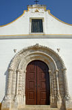 Church Atalaia Portugal. The majestic entrance to a white church found in Atalaia Stock Images