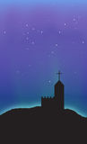 Church Aurora Night Sky Scene Abstract Background. Aurora starry night sky scene with a castle church standing in the background royalty free illustration