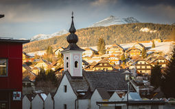 Church at Austrian village at sunset Stock Photo