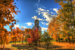Church in the autumn forest Royalty Free Stock Images