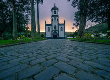 Church in the Azores at sunset Stock Photography